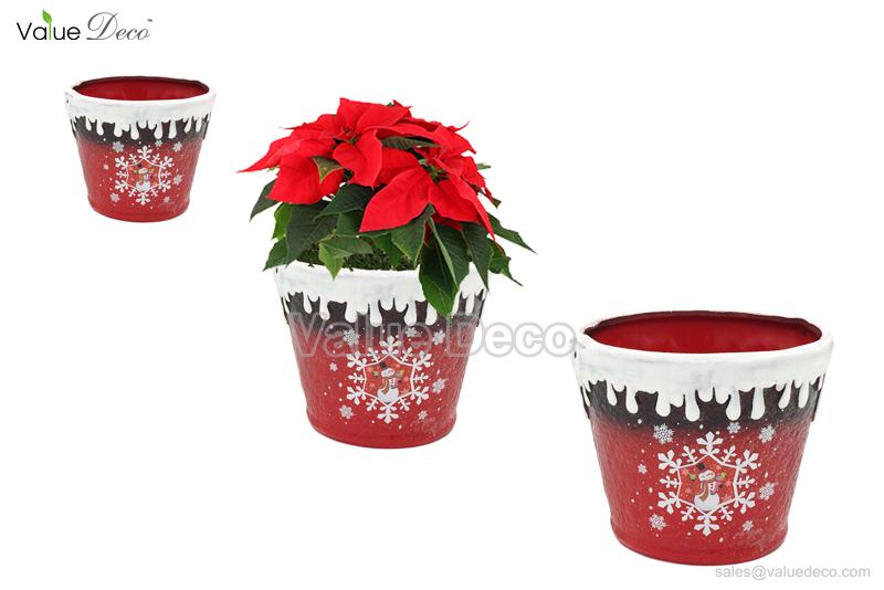 xmas flower pot w decal tc0109